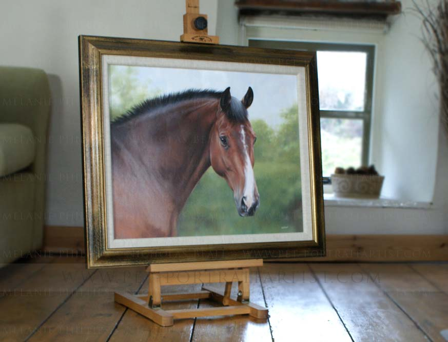 Horse Equine Portraits Framed on the Mini Easel