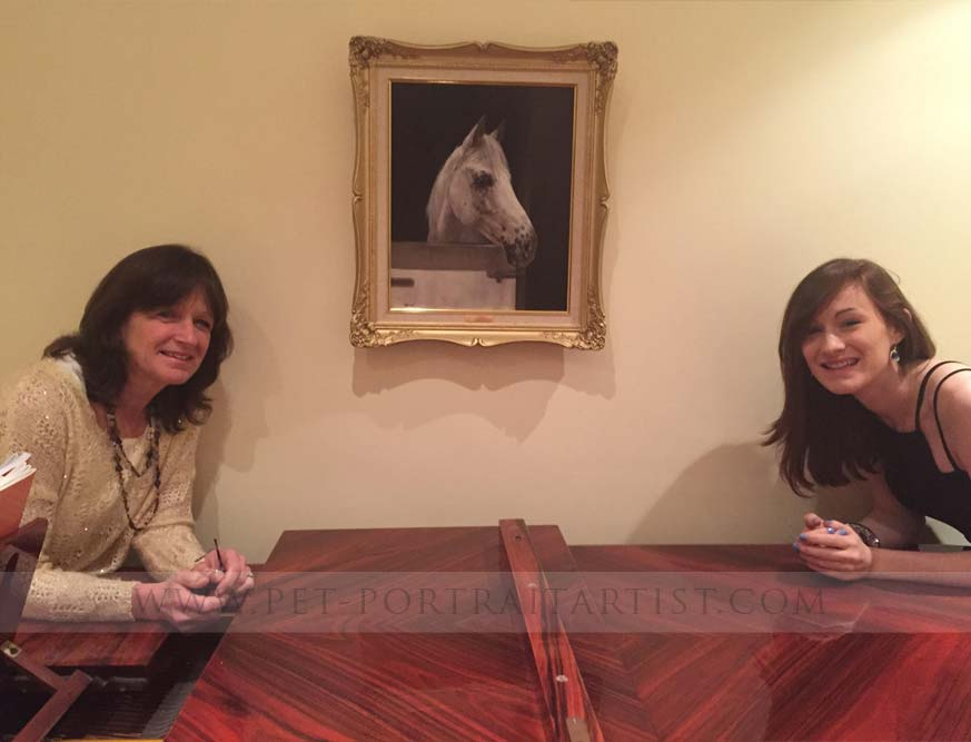 horse portrait in happy clients home