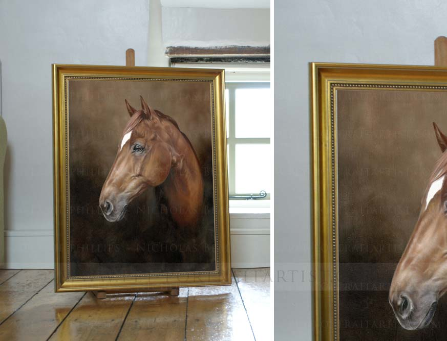 horse portraits oils on the Mini Easel